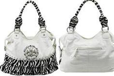 Ships Free-New Western Style W/T Ruffle Zebra Prints WHITE X-Large Handbag Purse