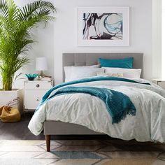 Grid-Tufted Upholstered Tapered Leg Bed – Heathered Crosshatch | west elm