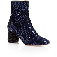 Rochas     Rocchetta Bootie ($780) ❤ liked on Polyvore featuring shoes, boots, ankle booties, navy, short sequin boots, navy booties, ankle boots, navy ankle boots and sequin booties