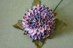 Purple Coquina Seashell Chrysanthemum by OceanPetal on Etsy