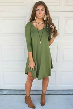 Maybe Baby Olive V-Neck Quarter Sleeve Tunic Dress