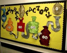 A fun and quirky maths display… Thanks to Primary Displays for the photo. I could see this working really well as a challenge for early finishers or daily morning maths tasks. Teaching Displays, Class Displays, School Displays, Classroom Displays, Primary Teaching, Teaching Math, Teaching Ideas, Numeracy Display, Roald Dahl Day