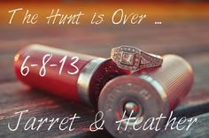 """The hunt is over"" Save the date....I like just the rings with the shotgun shells for a photo!"