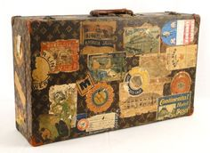 traveler  ~  we have some fun old suitcases like this (not LV, however :)