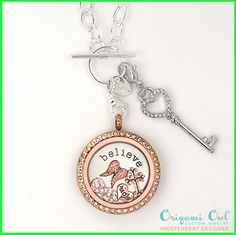 Owl Believe Mixed Metals Living Locket Origami Owl Believe Mixed Metals Living Locket from - Come create your own story today.Origami Owl Believe Mixed Metals Living Locket from - Come create your own story today. Origami Owl Necklace, Origami Owl Lockets, Origami Owl Jewelry, Locket Necklace, Locket Charms, Necklaces, Rose Gold Locket, Useful Origami, Personalized Charms