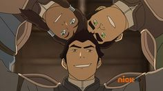 Korra, Mako, and Bolin huddle.
