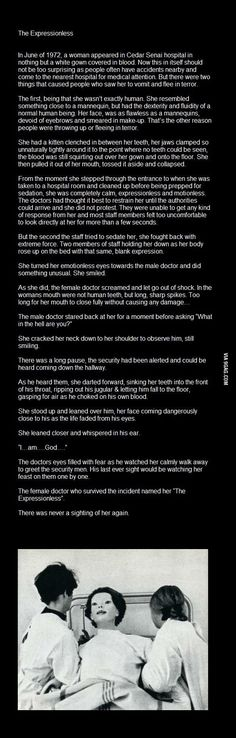 The expressionless woman... Scary story