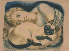 Woman and Siamese Cat, 1951 ~ Colour lithograph ~ Eileen Mayo (Brit./Aust./NZ, 1906-1994)