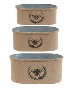 Look what I found on #zulily! Queen Bee Burlap Container Set by Established 98 #zulilyfinds