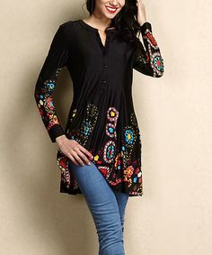 Another great find on #zulily! Black Garden Button-Front Shift Tunic by Reborn Collection #zulilyfinds