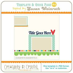 Free quick-page digital scrapbooking template