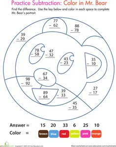 Worksheets: Color by Number: Practice Two-Digit Subtraction 6