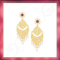 Exquisitely crafted, these Pearl drop earrings are set in Gold Plated Sterling Silver and features a gorgeous Garnet detail | Shipping across India