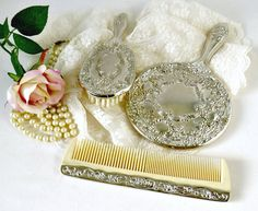 Vintage Silverplated Vanity Set - 3 pc Dresser Set - Silver Mirror Comb and Brush - Wedding Photo Prop - New Old Stock by GSaleHunter on Etsy