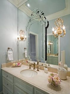 I love this mirror treatment!  Life at Rose Cottage: Old Hollywood bathroom......