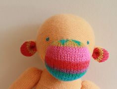 Cashmere super soft orange and colorfull upcycled wool monkey plush by ouistitine, $52.00