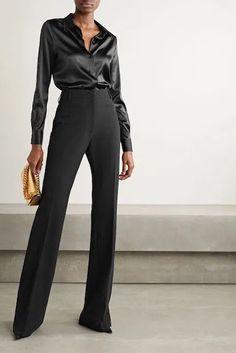 Suit Fashion, Look Fashion, Fashion Outfits, Fashion Black, Fashion Design, Black Satin Shirt, Black Silk Blouse, Satin Shirt Womens, Black Shirt Outfits