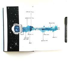 Bullet journal monthly calendar, linear calendar, space drawings. | @french_dreamer_life_lover