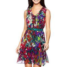 692618f8f0c Nine  amp  Co.® Sleeveless V-Neck Ruffle-Edged Dress - jcpenney