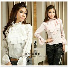 Elegant slim clothing royal flare sleeve shirt long-sleeve shirt Women stand collar basic shirt spring US $23.94