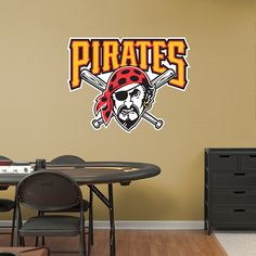 Pittsburgh Pirates Alternate Logo REAL.BIG. Fathead Wall Graphic | Pittsburgh Pirates Wall Decal | Sports Decor | Baseball Bedroom/Man Cave/Nursery
