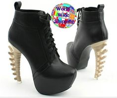 Goth Back Bone High Heel Boots. Black White Spine Ae 319217