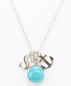 Look what I found on #zulily! Turquoise Anchor Initial Charm Necklace by Bangled+Charmed #zulilyfinds