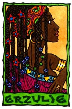 Erzulie, or Ezili, is the Vodou Lwa (spirit or goddess) of love and women. She has many forms, from coquette to fierce warrior mother to red-eyed weeping crone, and can be counted among either the Rada or Petwo lwa (spirits or gods). The Petwo rites arose in the New World during slavery. Erzulie is a love goddess who developed during a time when slave owners broke up families and separated husbands and wives at will, and considered raping female slaves a pleasant way to produce more slaves.