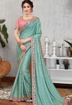 evening blue jacquard silk embroidered saree 11406 Latest Sarees Online, Latest Designer Sarees, Silk Sarees Online, Churidar, Salwar Kameez, Anarkali, Lehenga, Trendy Sarees, Blue Saree