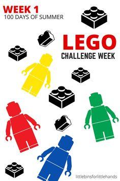 LEGO building challenge week for 100 days of summer STEM. LEGO week for a STEM camp. 10 LEGO challenges and LEGO activities.