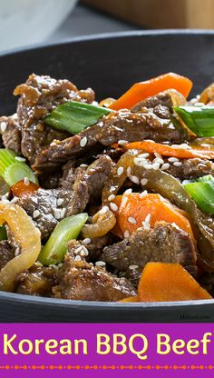 Our version of bulgogi or Korean BBQ Beef is easy and so flavorful. Dinner Menu, Dinner Recipes, Dinner Ideas, Korean Bbq Beef, Korean Food, Bulgogi, Fast Dinners, It's Amazing, Kitchen Recipes