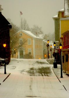 Old Town Hall in Marblehead, MA, light snow.