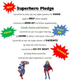 Superhero Pledge More - belaa Superhero Preschool, Superhero Classroom Theme, Preschool Classroom, Classroom Themes, Preschool Activities, Super Hero Activities, Super Hero Games, Superhero Party Games, Superhero Kids