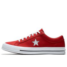 One Star Perforated Leather Low Top in Red | Converse.ca
