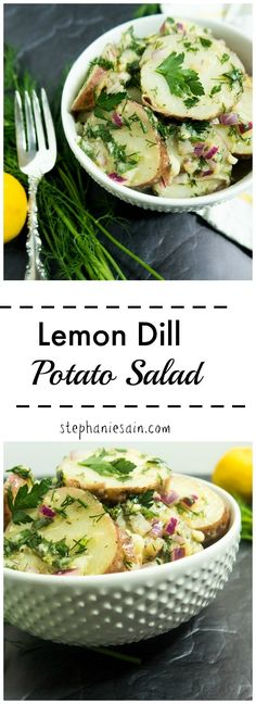 Lemon Dill Potato Salad is loaded with fresh herbs and a light vinaigrette. Mayo free and perfect for all your summer cookouts, gatherings and picnics. Vegan & Gluten Free.