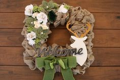 Square Burlap Woodland Welcome Wreath 017 by KKeithDesigns on Etsy https://www.etsy.com/listing/233048101/square-burlap-woodland-welcome-wreath