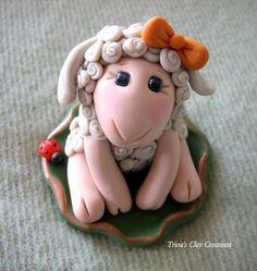 Polymer Clay Sheep Sheep Lamb With Ladybug by trinasclaycreations, $50.00
