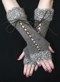 Knit Fingerless Gloves Long Wrist Warmers Taupe/ Grey by LaimaShop, $38.00.