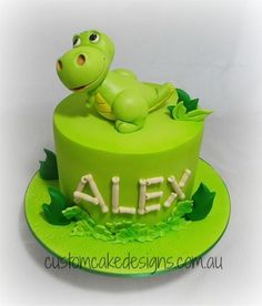Cartoon Dinosaur Cake by Custom Cake Designs