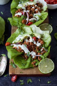 Ground Turkey Tacos in Lettuce Wraps topped with a fresh Cilantro Lime Crema - a great healthy weeknight meal option that's full of flavor and gluten free!