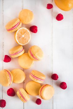 These foolproof Lemon Raspberry Macarons have the perfect classic French Macaron smooth crisp shell and chewy center with the most delicious raspberry lemon buttercream filling sandwiched in between. Macarons, Lemon Macaroons, Raspberry Macaroons, French Macaroons, Lemon Macaron Recipe, Macaroon Recipes, Macaroon Cookies, Almond Cookies, Shortbread Cookies