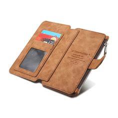 Untuk apple iphone 7 6 6 s/plus multi-fungsional 14 kartu pemegang dompet case vintage kulit asli zipper kasus telepon kembali penutup