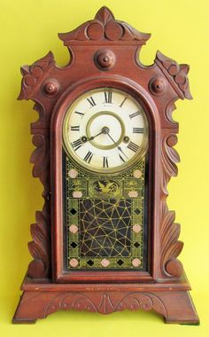 Antique New Haven Eastlake Victorian Walnut MANTLE CLOCK 1881 Glass Front #Victorian #NewHaven