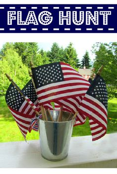 Keep the kids entertained while you BBQ by setting up a flag hunt. #July4th
