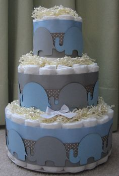 Modern Blue & Gray Elephant Neutral Diaper Cake for Baby Shower Centerpiece and New Baby Gift via Etsy