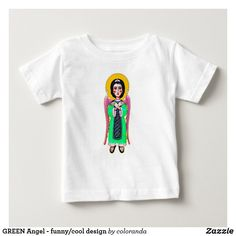 Shop GREEN Angel - funny/cool design Baby T-Shirt created by coloranda. Kids Angel Wings, Booth Design, Consumer Products, Baby Design, White Shop, Basic Colors, Funny Babies, Cotton Tee, Pink And Green