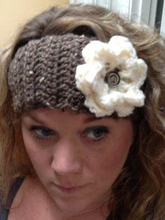 Brown Crochet Headband with Flower