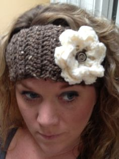 Brown Crochet Headband with Flower