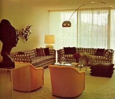 Warm and inviting living room featuring the Arco Lamp 1970s Living Room, Retro Living Rooms, Cheap Home Decor, Diy Home Decor, 1970s Decor, Decor Pad, Retro Room, Aesthetic Room Decor, Futuristic Furniture