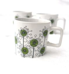 Green dandelions on a new mug from Bolin Design Nordic Design, Scandinavian Design, Buy Posters Online, Unique Poster, Fika, Finland, Denmark, Norway, Sweden